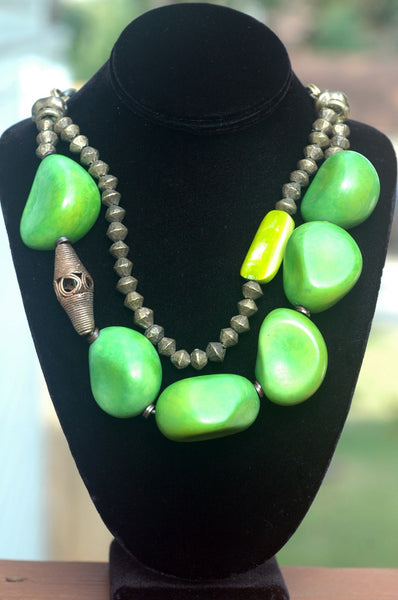 Bold Organic Green Tagua Nut & African Brass Statement Choker Necklace