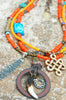 African Inspired Orange Glass and Mixed Media Tribal Pendant Necklace