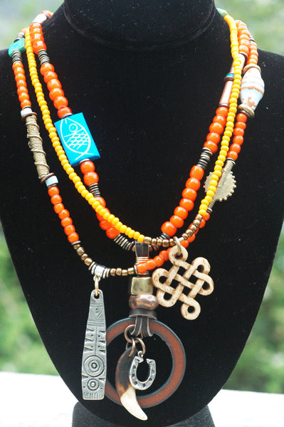 African Inspired Tribal Orange Glass and Mixed Media Pendant Necklace