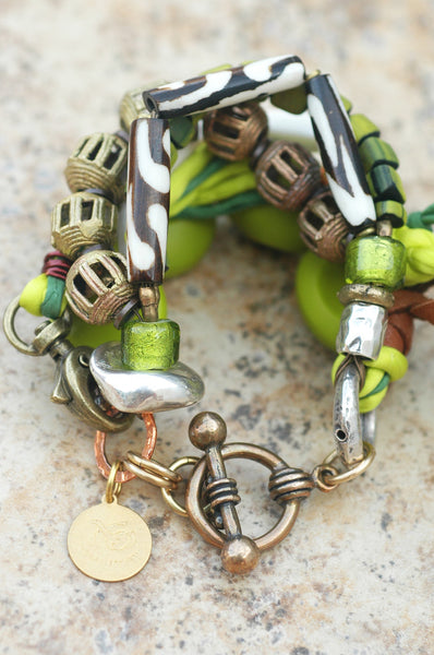 Mixed Media Green Glass, Silk & Exotic Metals Boho Statement Bracelet