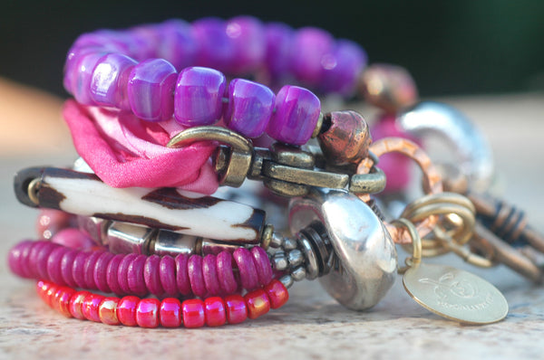 Mixed Media Pink Shell, Silk, Glass & Exotic Metals Statement Bracelet