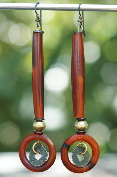 Amber Horn Tube and Brass Coin Hoop Bohemian Tribal Statement Earrings