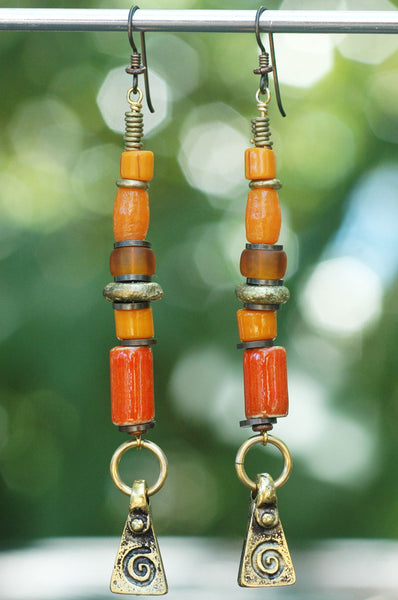 Artisan Orange Glass and Mixed Metal Spiral Dangle Statement Earrings
