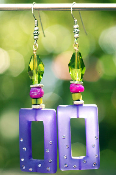 Boho Chic Purple, Green & Magenta Swarovski Crystal Statement Earrings