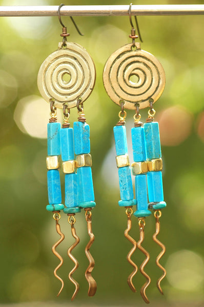 Exotic Turquoise, Brass and Copper Spiral Chandelier Dangle Earrings