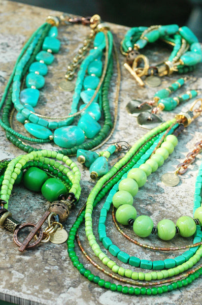 Beautiful Green Layered Boho Chic Statement Jewelry
