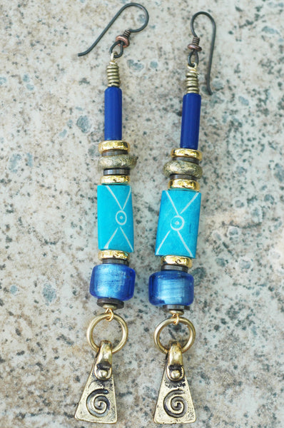 Artisan Blue Glass Gold & Mixed Metal Spiral Dangle Statement Earrings