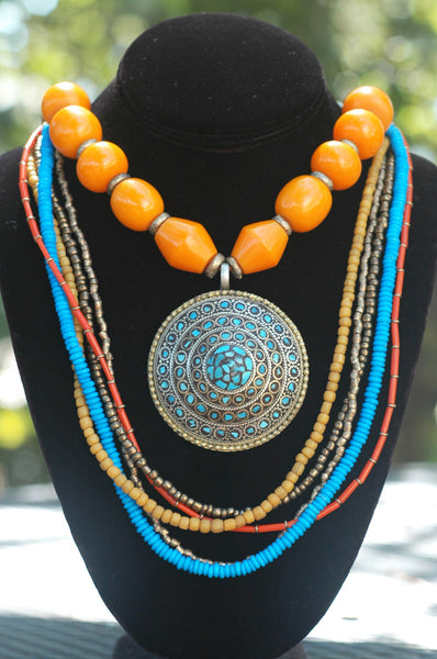 Exotic Turquoise, Orange and Brass Tibetan Amulet Statement Necklace
