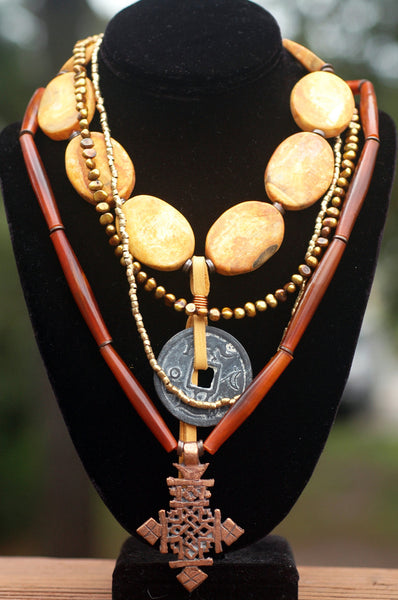 Amber Agate Slab, Bronze Pearl, Chinese Coin & Cross Pendant Necklace