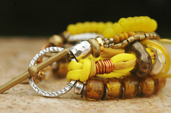 Mixed Media Yellow Glass, Silk & Exotic Metals Boho Statement Bracelet