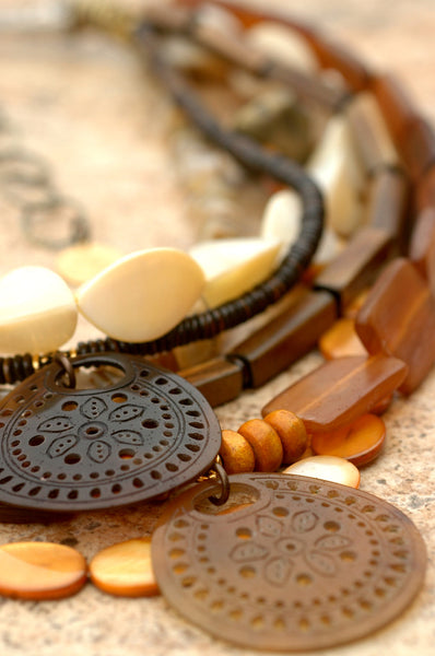 Natural and Organic Amber Horn, Shell, Bone and Brass Pendant Necklace
