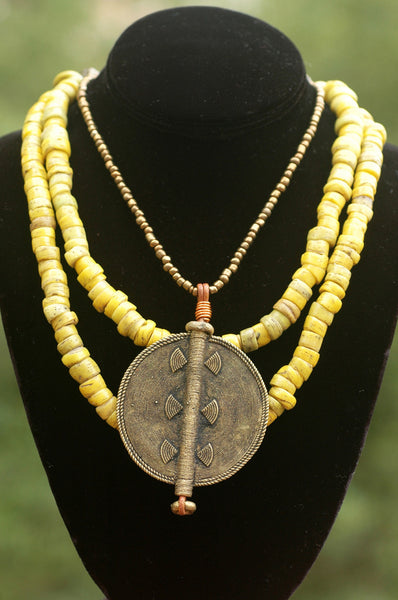 Ethnic Yellow Turkish Hebron Bead and African Brass Disc Necklace