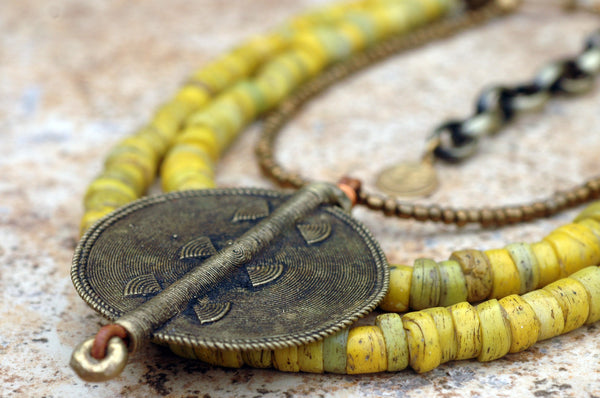 Ethnic Yellow Turkish Hebron Bead and African Disc Statement Necklace