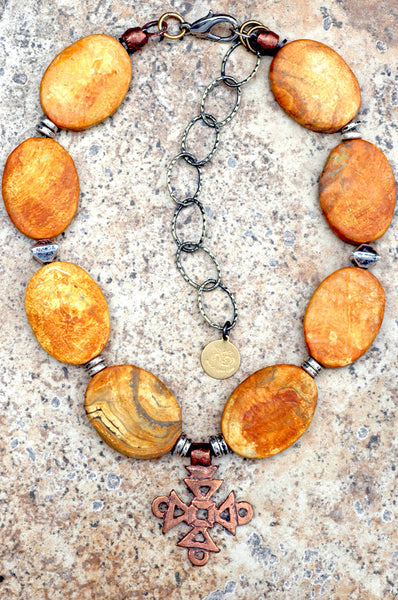 Amber Agate Slab, Silver & Copper Coptic Cross Pendant Choker Necklace