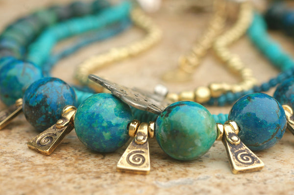 Blue Chrysocolla, Turquoise Brass & Ethiopian Cross Statement Necklace