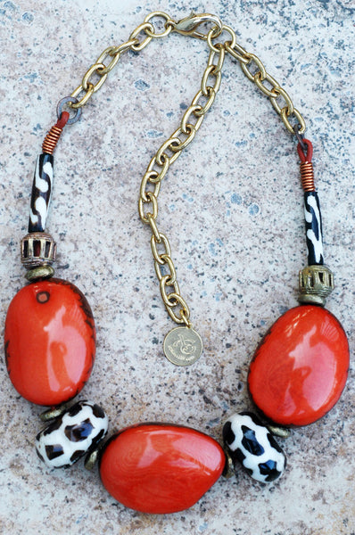 Chunky Orange Tagua Nut and African Giraffe Bone Choker Necklace