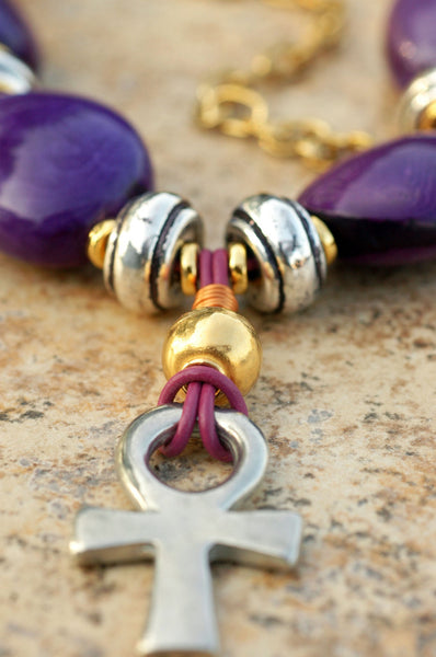 Chunky Purple Tagua Nut, Gold and Silver Ankh Choker Pendant Necklace