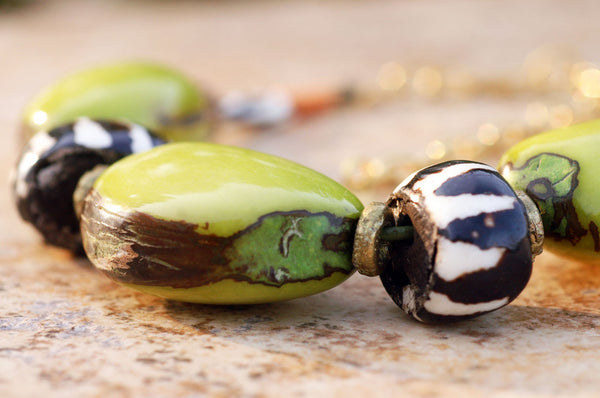 Chunky Lime Green Tagua Nut and African Zebra Bone Choker Necklace