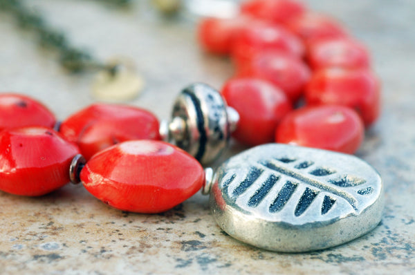 Organic Orange Coral, Antique Brass and Rustic Silver Pendant Necklace
