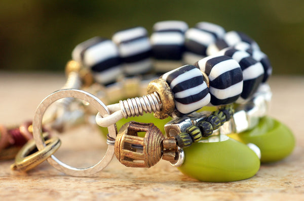 Funky Tribal Zebra Print and Lime Glass Ring Charm Statement Bracelet