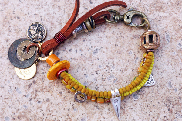 Soulful Yellow, Brass, Silver & Leather Boho Tribal Charm Bracelet