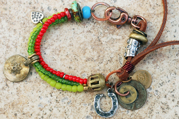 Soulful Red, Green, Brass, Leather and Horseshoe Boho Charm Bracelet