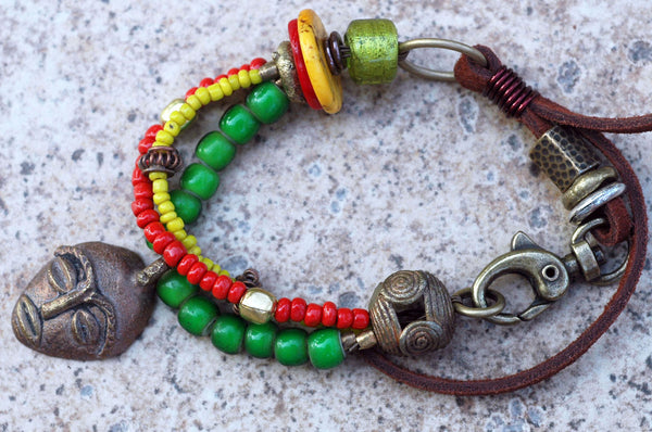 African Rastafarian Reggae Red Gold Green Leather Charm Bracelet