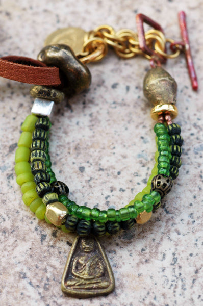 Everyday Green Glass and Leather Bohemian Buddha Charm Bracelet