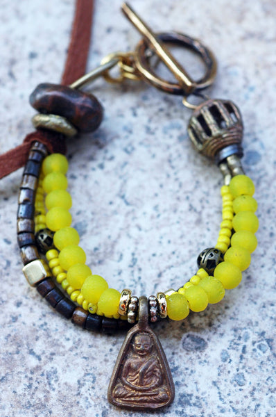 Everyday Leather Glass and Leather Bohemian Buddha Charm Bracelet
