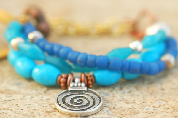 Everyday Blue Glass and Leather Bohemian Spiral Charm Bracelet
