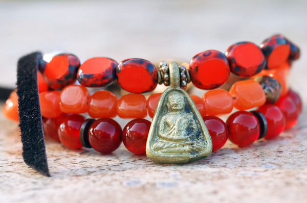 Everyday Orange Glass and Leather Bohemian Buddha Charm Bracelet