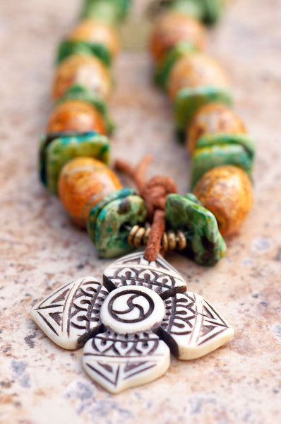 Tibetan Agate, Green Terra Cotta, Leather and Bone Cross Surfer Necklace