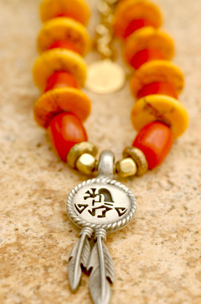 Orange and Yellow Southwest Inspired Surfer Pendant Necklace