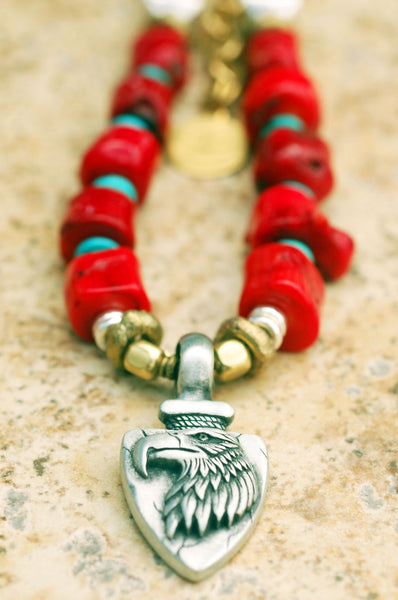 Red Coral, Turquoise, Bone and Eagle Pendant Surfer Necklace