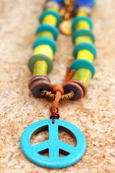 Green and Blue Turquoise Peace Sign Surfer Pendant Necklace
