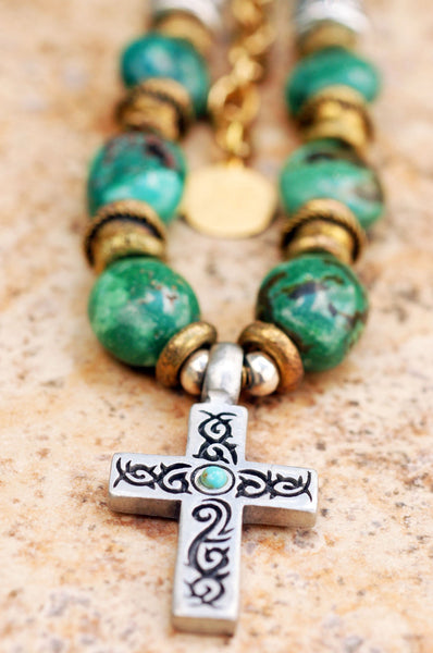 Green Turquoise, Brass and Pewter Cross Surfer Pendant Necklace