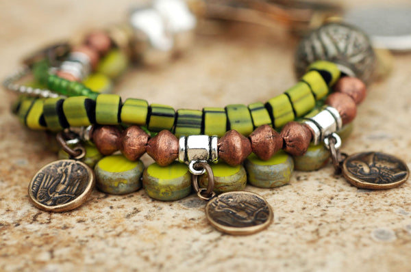 Green Glass, Silver, Copper and Brass Multi-Strand Charm Bracelet