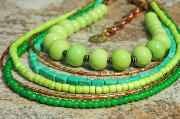 Green Glass, Lime, Mint, Copper and Brass Multi-Strand Statement Necklace