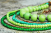 Green Glass, Lime, Mint Copper & Brass Multi-Strand Statement Necklace