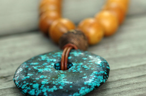 Long Wood Bead, Leather and Turquoise Donut Pendant Necklace