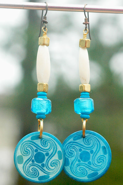 Turquoise Tribal Bone, Brass, Glass and Tagua Nut Coin Dangle Earrings