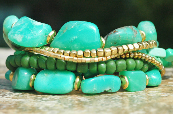 Amazonite, Mint Green, Gold and Brass Multi-Strand Statement Bracelet