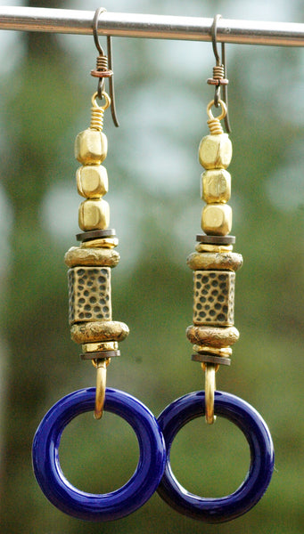 Venetian Lapis Blue Glass Ring & Antique Brass Boho Statement Earrings