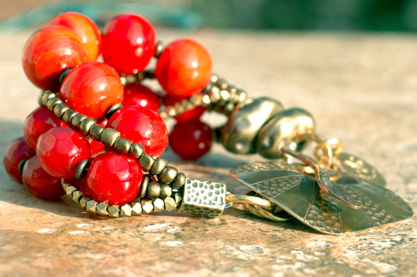 Bold Venetian Glass and Bronze Multi-Strand Red Bracelet