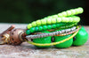 Green, Lime, Copper and Brass Multi-Strand Statement Bracelet