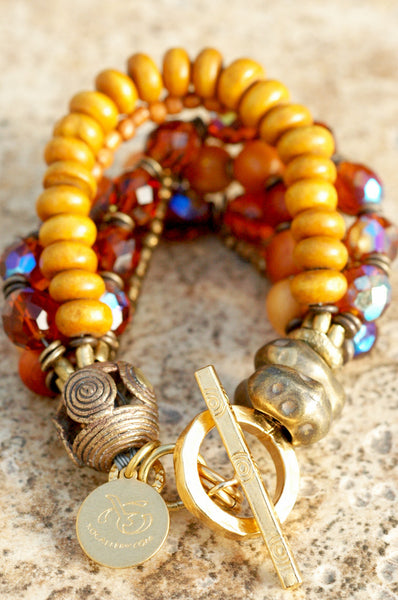 Elegant Victorian Style Amber, Glass and Bronze Multi-Strand Bracelet