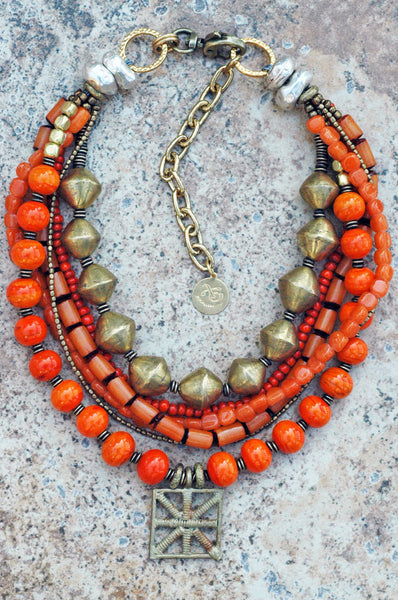 Tangerine Orange Glass and African Brass Shield Statement Necklace