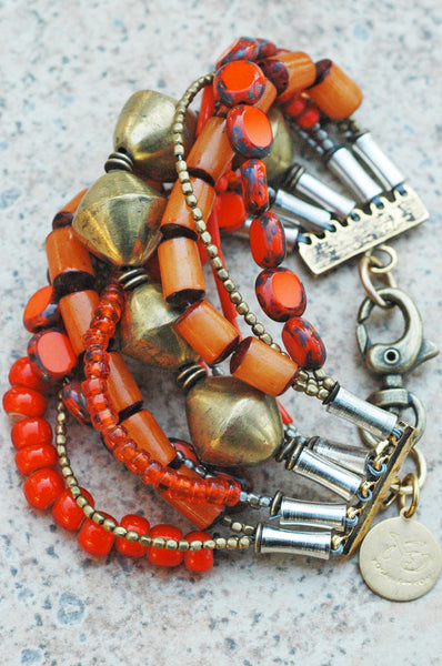 Tangerine Orange Glass & African Brass Multi-Strand Statement Bracelet