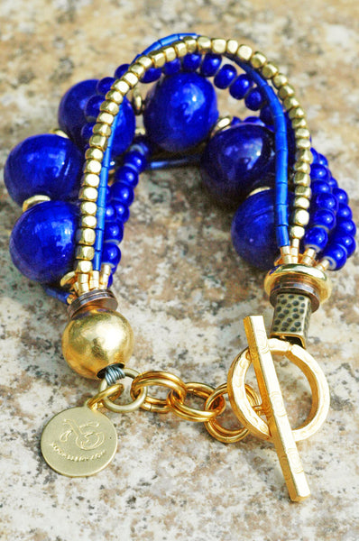 Lapis Lazuli, Cobalt Blue Glass and Gold Multi-Strand Statement Bracelet