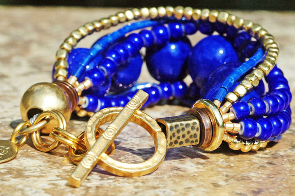 Lapis Lazuli, Cobalt Blue Glass & Gold Multi-Strand Statement Bracelet